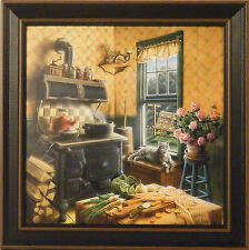 COUNTRY KITCHEN by Doug Knutson 14x14 FRAMED PRINT Antique Stove Cooking Cat