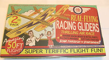 RETRO TWIN REAL FLYING BALSA WOOD RACING PLANE/GLIDERS 2 PACK 50FT FLIGHT