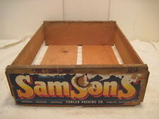 OLD VINTAGE WOOD-WOODEN SAM SONS GRAPE PLUM FRUIT FARM CARRIER BOX CRATE