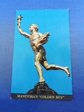 MANITOBAS GOLDEN BOY POSTCARD ON TOP LEGISLATIVE BUILDING WINNIPEG CANADA