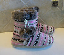 NEW Women's Nordic Knit Sweater Slipper Boots Booties Multi color Size L 9-10