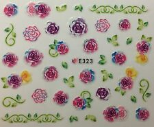 Nail Art 3D Decal Stickers Watercolor Roses Pink & Purple E323
