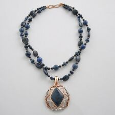 Barse Jewelry Dumortierite, Sterling Silver and Copper Necklace