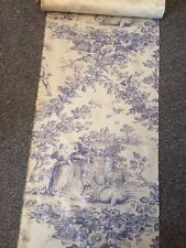 "Sale 4 Mts Blue Creamy White TOILE  De Jouy Cotton Sheeting FABRIC 17"" W"
