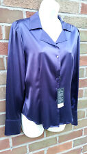 BNWT Basler Purple Pure Silk Shirt Top Blouse Size 10 EU 36 Smart Evening Formal