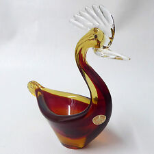 Murano Vintage Seguso Amber Brown Cased Glass Bird Duck Italy + Label