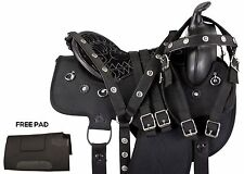 16 17 18 BLACK SYNTHETIC BARREL RACING PLEASURE TRAIL WESTERN HORSE SADDLE TACK