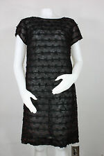 Vintage silk rayon lace dress S/M 60's black red made in japan deadstock new