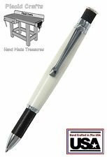 Knurl Chrome & Black Ball Point Pen with a Solid Surface Body & Fisher Ink / #13