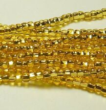 Gold Light Topaz Silver Lined Czech 6/0 Seed Bead on Loose Strung 6 String Hank