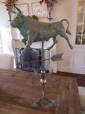 LARGE Handcrafted 3D 3- Dimensional Cow BULL   Weathervane Copper Patina Finish