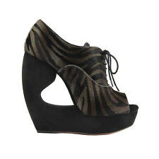 Alaia Luxurious Black Grey Pelt Sculptured Wedges Zebra Ankle Boots IT40 UK7