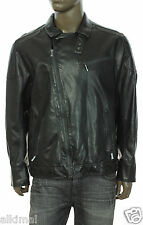 NEW CALVIN KLEIN SLIM FIT ANGLED ZIP CHARCOAL FAUX LEATHER MOTO JACKET XXL