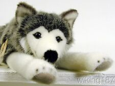 KOSEN Made in Germany NEW Lying Husky Dog Plush Toy with Amber Colored Eyes