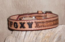 """1"""" Custom Leather Dog Collar Personalized, Your Dogs Name,  Floral Border. G&E"""