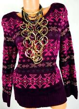 MAURICES PURPLE pink TRIBAL PLUS SIZE NORDIC LONG SLEEVE PULL OVER SWEATER 3, 3X