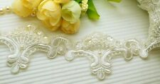 2 Yards Beautiful Embroidery Pearl/Sequin Venise Lace Trim ~ Wedding Bridal