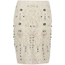 ZARA VINTAGE LACE HAND EMBROIDERED BEADED EMBELLISHED PEARLS  SKIRT - S - 2014