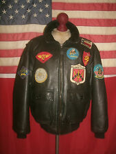 Superb  AVIREX  U.S.Navy Type G-1  Top Gun Bomber Flight Leather Jacket.Size XXL