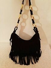 Great American Leatherworks Hobo Fringe Black Suede Shoulder Bag Gorgeous!