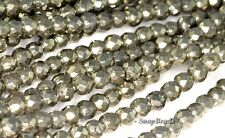 4MM IRON PYRITE GEMSTONE GRADE AA FACETED ROUND 4MM LOOSE BEADS 16""