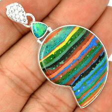 Rainbow Calsilica & Fire Opal 925 Sterling Silver Pendant Jewelry SP211137