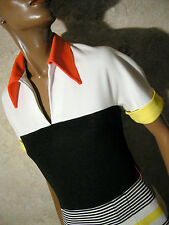 CHIC VINTAGE ROBE RAYéE 1960 VTG DRESS 60s STRIPE MOD TWIGGY KLEID 60er (36/38)