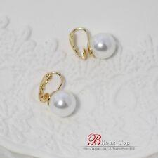Boucles d`Oreilles Clips Doré Perle Blanc 12MM Class Retro Vintage J1