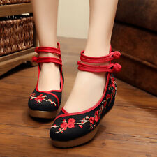 Women's Chinese Traditional Folk Embroidery Shoes Wedge Flat Ballet Peking-UK 2