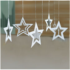 7PCs/1Set Paper Hollow Stars Card Charms Garland Home Decoration (SILVER)