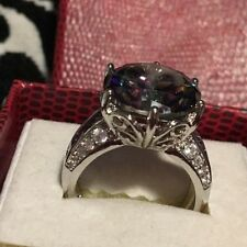 6ct.Russian  Alexandrite Lilac Tanzanite Solitaire 18kt White Gold  Over SS
