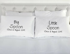 Personalised Big Spoon Little Spoon pair of printed pillow cases Wedding present