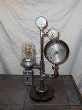 Industrial Steam Punk Lamp Gauges Antique Pieces One of a Kind Folk Art