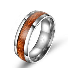 Titanium Steel Men's Dark Wood Grain Comfort Fit Band Ring Size 6 7 8 9 10 11 12