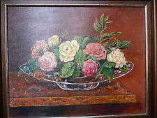 Gemälde Blumen Bild Rosen Schale Acryl Original Stilleben Heinz Nawitzky 1990