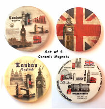 LONDON FRIDGE MAGNET SET OF 4 - UK LONDON SCENE UNION JACK CERAMIC MAGNET