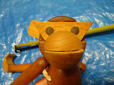 Vintage Viking Hand Made Wooden Monkey Danish Modern