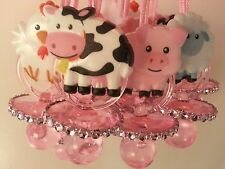 12 Barn Farm Animals Pacifier Necklaces Baby Shower Games Girl Pink Favors Prize