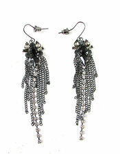 Black & Dark Silver Charcoal Chandelier Earrings Vintage 1920s Stud Flapper 378