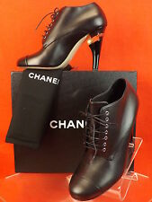 15C NIB CHANEL BLACK LEATHER LUCITE PEARL HEEL LACE UP ANKLE BOOTS 40.5 $1675