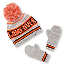 Toddler Boys 'Game Over' Striped Pom Pom Beanie And Mittens Set size M(2T-3T)