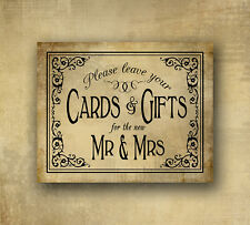 Cards & Gifts for Mr & Mrs PRINTED vintage black tie style wedding sign 5x7print
