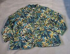 Alfred Dunner Jacket Lightweight Full Zip Blue Floral Womens Plus Size 20