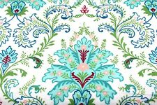 BLUE GREEN ORNATE FLORAL FLOWERS FLANNEL FABRIC 100% COTTON SEWING QUILTING BTY