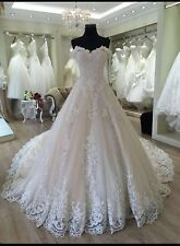 Luxury Elegant Wedding Dress For Rent - One Of A Kind - crown-long Vail-designer