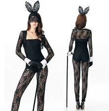 Halloween Donna coniglietto costume vestito partito cosplay pizzo bodysuit 32-36