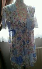 LADIES VINTAGE MINI FLORAL NIGHT DRESS & ROBE BY VAN RAALTE 70s SIZE 14