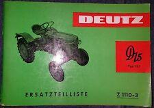 Deutz Schlepper D15  Ersatzteilliste