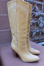 BCBGirls Tan/ YELLOW Leather Western TALL Boots Womens Size 6 M