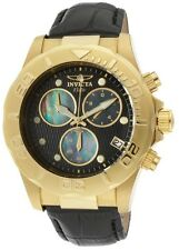 New Mens Invicta Elite 1721 Gold Tone  Quartz Chronograph Leather Watch